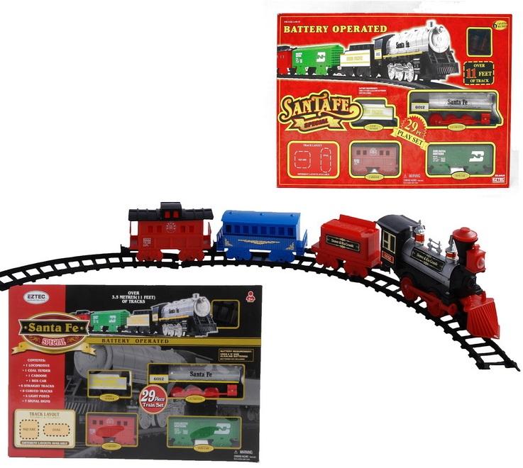Железная дорога на радиоуправлении Train 49Железная дорога 49 TRAIN / SANTA FE. Комплект состоит из 29 частей  : 1 паровоз, 1 пассажирский вагон, 1 вагон с углем , 1 вагон-ресторан, 6 прямых, 8 изогнутых участков дороги, 7 дорожных знаков. Аудиооэффекты - мелодия. Движение : вперед, назад, остановка. Длина дорожного полотна 3,3 м.<br>