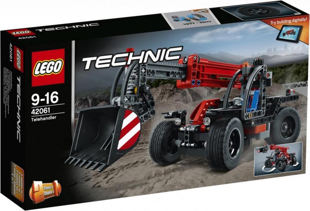 Конструктор Lego Technic Телескопический погрузчикИспытай сочетание компактного дизайна и удивительной мощности, объединённые в этой суперкрутой модели настоящего телескопического погрузчика с детально разработанной кабиной, надёжными шинами и рулевым управлением с приводом на четыре колеса для исключительной манёвренности. Вытяни универсальную стрелу и подними ковш высоко в воздух. Эта прочная модель LEGO® 2-в-1 выполнена в классной красно-серо-чёрной цветовой гамме и перестраивается в мощный экскаватор! Интерактивное интернет-приложение с цифровыми 3D-инструкциями по сборке LEGO для обеих моделей доступно онлайн!Информация о набореАртикул: 42061Производитель: LEGOКол-во деталей: 260Фигурок: 0Год выпуска: 2017<br>