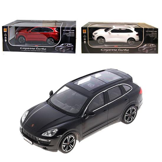 Машина р/у Porsche Cayenne Turbo (на аккум., свет), 1:14Машинка на радиоуправлении Porsche Cayenne Turbo является уменьшенной копией одноименной модели элитного автомобиля бизнес-класса. Данный автомобиль выполнен в масштабе 1:14. Проработана машинка очень детально и окрашена в приятный цвет. Сквозь прозрачные стекла можно увидеть салон автомобиля. Машинкой можно управлять при помощи пульта радиоуправления, что сделает игру с ней еще интереснее. В комплекте имеется аккумулятор, а также зарядное устройство. Задние и передние фары автомобиля загораются при движении.<br>