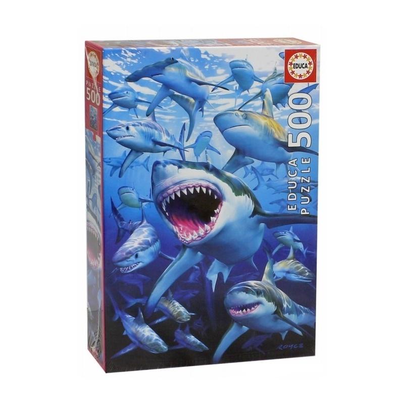 Пазл 500 деталей - Стая акулПазл Educa Стая акул придется по душе вам и вашему ребенку. Собрав этот пазл, включающий в себя 500 элементов, вы получите картину с изображением хищников океана.Пазл выполнен из высококачественных материалов, что обеспечивает идеальное прилегание деталей. Кроме того, после сборки вы сможете склеить части мозаики. Специальный клей входит в комплект.Пазл - великолепная игра для семейного досуга. Сегодня собирание пазлов стало особенно популярным, главным образом, благодаря своей многообразной тематике, способной удовлетворить самый взыскательный вкус. А для детей это не только интересно, но и полезно. Собирание пазла развивает мелкую моторику у ребенка, тренирует наблюдательность, логическое мышление, знакомит с окружающим миром, с цветом и разнообразными формами.<br>