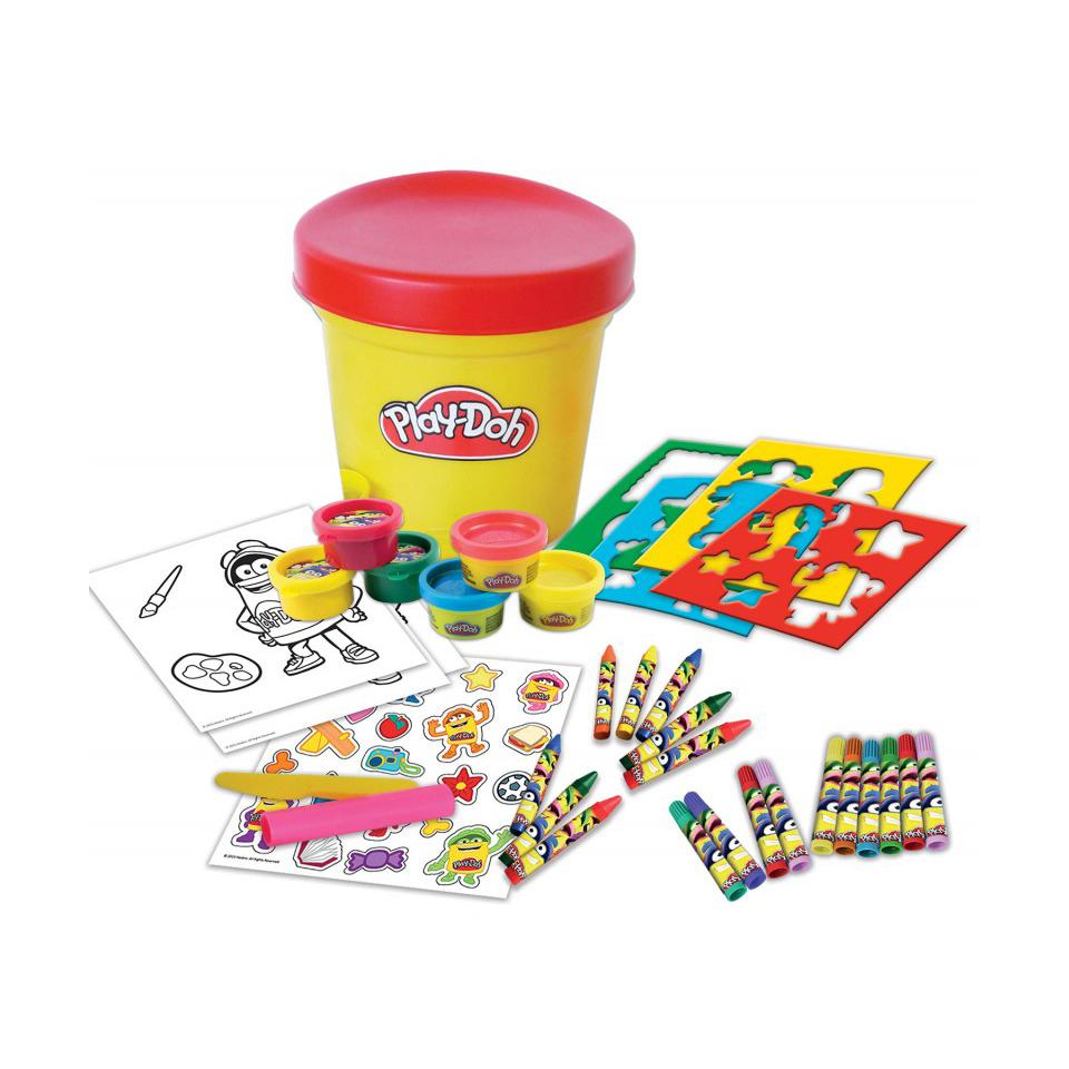 """Купить со скидкой Набор Play doh """"Необычное ведерко"""", 6 цветов пасты для лепки, 10 маркеров, 20 наклеек, 8 в"""
