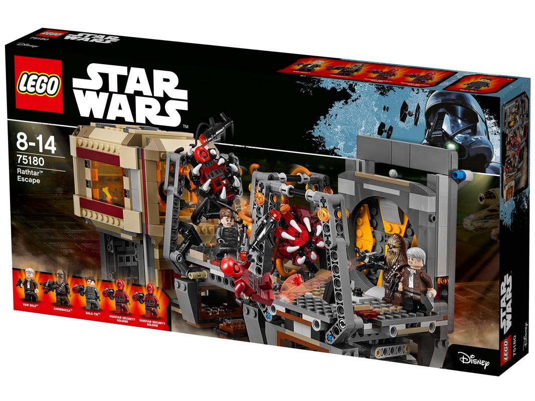 Конструктор Lego Star Wars Побег РафтараИнтересный сюжет — это всегда погоня и попытка умело спрятаться от врага. Новый конструктор Лего Побег Рафтара — идеальное поле для игры в одиночку или с друзьями, где нужно проявить смелость, сообразительность и отвагу. Вначале соберите из 830 деталей огромную конструкцию грузового корабля со множеством отделений. Конструкция трансформируется — из боевого судна вы легко сделаете обычный грузовой межпланетный корабль. Здесь есть где спрятаться от противника — многочисленные отсеки разместят целую армию, и враг даже не догадается, что ему готовится ловушка. Проявите смекалку — в компании Чубакки и Хана Соло вам предстоит спрятаться на борту от команды Гувиан и Бала-Тика. А в тайниках скрываются смертоносные рафтары, нападение которых обратит в бегство каждого, кто желает установить свое господство во вселенной.<br>