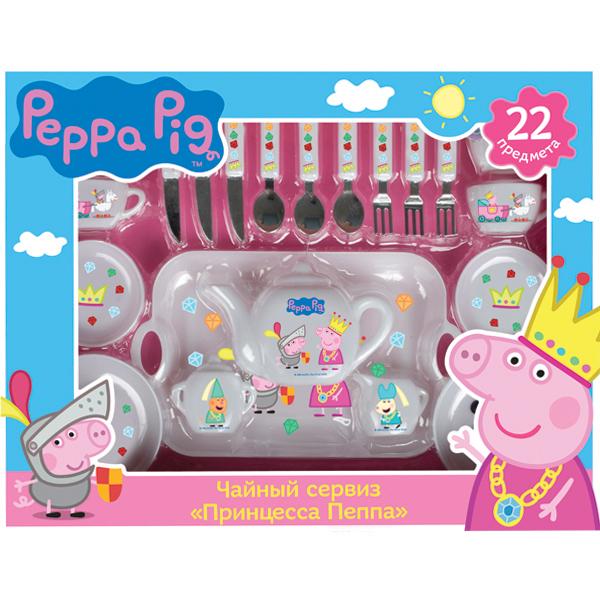 Чайный сервиз Принцесса Пеппа, 22 предметаЧайный сервиз Принцесса Пеппа представляет собой прекрасный набор кукольной посуды, состоящий из 22 предметов. На чашках, тарелках, подносе и других элементах комплекта изображены забавные персонажи популярного детского мультсериала Свинка Пеппа - Джордж в доспехах рыцаря, его старшая сестра в желтой короне и их друзья. С таким красивым сервизом девочки смогут накрыть роскошный стол для своих кукол, чувствуя себя в роли королевских особ. Элементы набора изготовлены из пластика и украшены ярким принтом.Возраст: от 3 летГерой: Свинка Пеппа / Peppa PigДля девочекЦвет: белый.Количество деталей: 22 шт.Комплектация: 4 чашки, 2 блюдца, 2 тарелки, сахарница, молочник, чайник с крышкой, 3 ложки, 3 ножа, 3 вилки, поднос.Материалы: пластик.Размер упаковки: 38 х 6 x 30 см.<br>