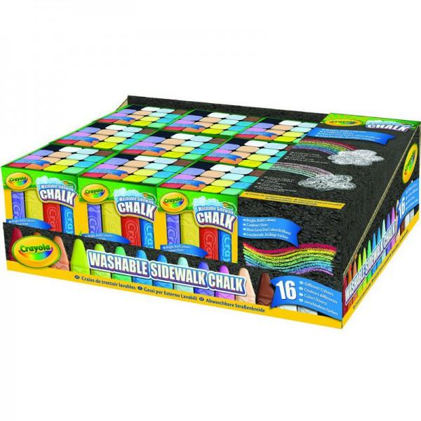 Мел Crayola для асфальта 16 шт.Набор из 16 разноцветных смываемых мелков Crayola будет замечательным подарком для малышей.Мелки имеют невероятно насыщенные цвета.Мелки не раскалываются на несколько частей от случайного падения на асфальт.Смываемые мелки — настоящая находка для требовательного художника. Если вы решили перерисовать часть своей картины, просто сбрызните водой необходимый участок, и нарисованное вами исчезнет.<br>