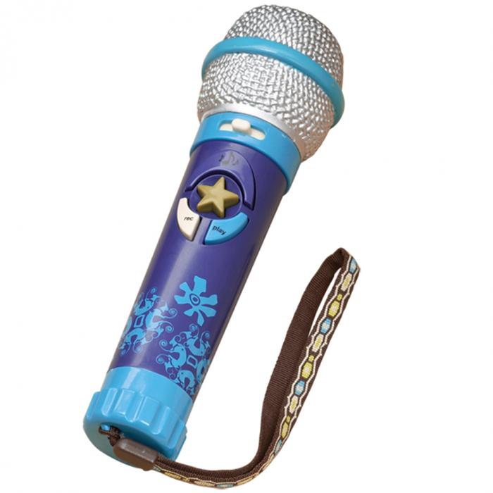 Микрофон записывающийИгрушечный микрофон может записать сообщение или песню. Он увеличивает громкость голоса и регулирует темп, имеет 8 записанных мелодий... Не позволит кому-либо сказать, что Вы перепутали слова из песни! Только Вы знаете свою песню лучше остальных! Возможность «вывернуть коробку» и получить игрушку в подарочной упаковке. 3 ААА батарейки входят в набор.<br>