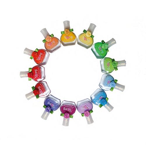 Лак для ногтей Nomi Розовая заря с блесткамиСостав лаков Nomi специально разработан для девочек старше 5 лет и абсолютно безопасен для здоровья. Каждый лак упакован в блистер, соответствующий цвету лака. С ароматом клубники. Устойчивая формула, не смывается водой.<br>
