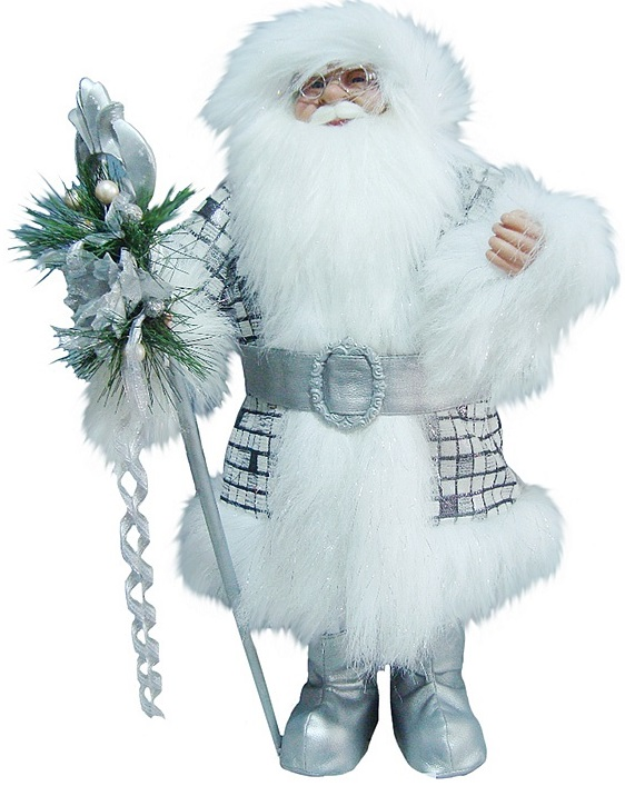 Дед Мороз с посохомНовогодняя фигурка Дед Мороз с посохом - это один из самых важных атрибутов в праздновании и украшении такого праздника, как Новый год. Данная фигурка сделана очень привлекательно, детально и оригинально. Фигурка довольно большая, а следовательно, Дед Мороз может сам служить отдельной частью композиции, а не дополнительным украшением или игрушкой под елку.Пушистые и белоснежные борода, волосы и мех на шубе завершают образ Дедушки, создавая впечатление, что он пришел из сказочной и абсолютно холодной страны. Такая фигурка станет отличным дополнением и украшением интерьера квартиры.<br>