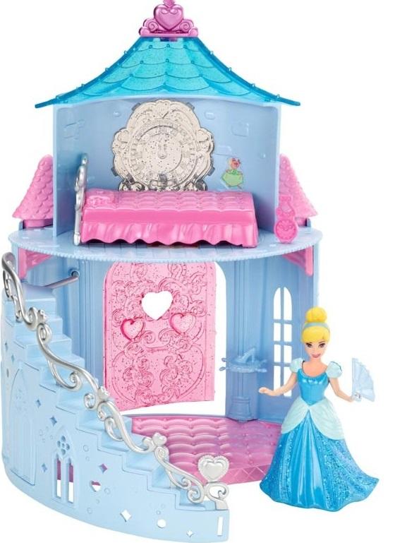 Набор игровой с мини-куклой Mattel Disney Princess замок ПринцессыВ небольшом, но аккуратном и красивом замке живет прекрасная Золушка. Если на складе нашего поставщика закончится заказанный вами товар, вместо него может быть отгружен аналогичный товар, но другого цвета и пр. На фотографии, размещенной на этой странице, могут быть несколько товаров ассортимента, но отгружается только один из них. Кстати, платье куколки выполнено по технологии MagiClip, которая позволяет легко и просто менять наряды, растягивая их края и защелкивая на принцессе. Под прозрачной крышей на втором этаже у принцессы есть спальня, где можно отдохнуть и переодеться. Кроме того, вы можете заметить, что на Золушке эксклюзивный наряд, выполненный специально для этого плейсета на основе платья из мультфильма. В наборе вы найдете: двухэтажный замок с кроватью и огромными настенными часами в спальне, мини-фигурку героини, туфельку на подставке, еще одни часы, аксессуары принцессы<br>