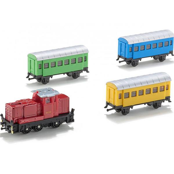 Набор железнодорожный №1(паровоз,3 вагона)Набор поездов – отличный подарок мальчику на любой праздник. В комплект входят: современный локомотив и три разноцветных пассажирских вагона. Локомотив и вагоны соединяются между собой, и получается целый поезд. Также данные модели можно комбинировать с другими моделями железнодорожной серии.<br>