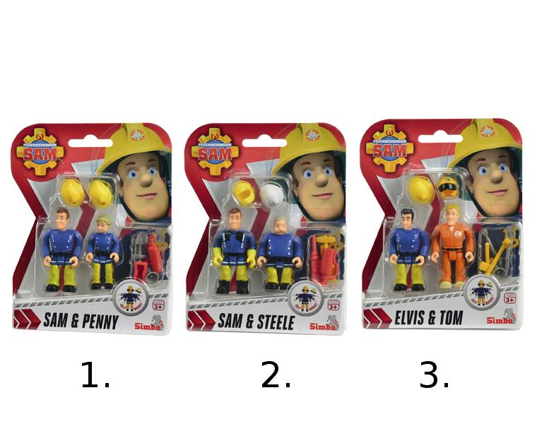 Набор из 2 фигурок Пожарный Сэм, 7.5 смНабор Пожарный Сэм состоит из двух фигурок, которые смогут потушить любой воображаемый пожар. Данные игрушки обладают функциональными частями: во время игры ребенок сможет изменять положение ног и рук фигурки. Также в комплекте имеются маленькие аксессуары, с которыми игра в пожарных будет только интересней.Внимание! Товар представлен в ассортименте. Цена указана за 1 набор. Номер желаемого набора указывайте в комментарии к заказу:1. Sam &amp; Penny:2. Sam &amp; Steele:3. Elvis &amp; Tom.Возраст: от 3 летДля мальчиковЦвет: синий, желтый, оранжевый.Комплектация: 2 фигурки, аксессуары.Материалы: пластик.Высота фигурки: 7.5 см.<br>