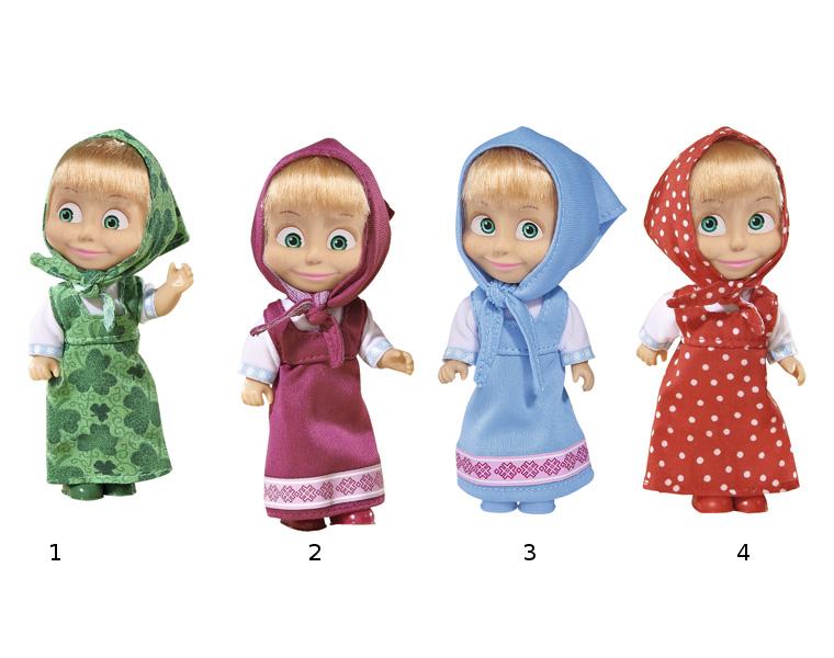 Кукла Маша и Медведь - Маша в сарафанеКукла Маша в сарафане и с косынкой на голове от Simba отлично передает задорный характер этой популярной героини мультфильма Маша и медведь. Какой бы озорной ни была Маша, она любит наряжаться, как и все девчонки в ее возрасте. Поэтому кукла Маша предстает в разноцветных сарафанах на выбор - будущая хозяйка куклы сможет выбрать, кукла в каком наряде ей больше по вкусу.Зеленый сарафан с бабочками великолепно сидит на кукле Маше, особенно хорошо подчеркивая ее зеленые глаза. Косынка на ее голове сшита из такой же ткани, как и платье, а туфельки подобраны очень гармонично.Маша в малиновом сарафане - это самый известный и классический образ персонажа. Именно такой ее помнят и любят многочисленные зрители замечательного отечественного мультика Маша и медведь.Маша в голубом сарафане и косынке выглядит уже более необычно. Такой сарафан Маша надевает, когда чувствует особенную легкость на душе. Ведь собирать васильки в лесу или любоваться на бегущие в небе облака в наряде небесного цвета особенно хорошо.Маша в красном сарафане в горошек будто бы сошла с иллюстрации русской народной сказки. В таком наряде можно будет гулять среди берез или, например, сходить по грибы. Главное, не насобирать мухоморов!У куклы отличная подвижность - руки и ноги двигаются, голову можно поворачивать. Личико и конечности сделаны из приятного на ощупь винила, а одежда качественно сшита из красивых тканей. Челка у куклы Маши совсем как настоящая, а на личике нарисовано ее фирменное выражение, в котором читается готовность задумать очередную веселую проделку.Внимание! Кукла представлена в ассортименте по цвету сарафана: зеленый / розовый / голубой / красный. Цена указана за 1 шт. Желаемый вид игрушки указывайте в комментарии к заказу.<br>