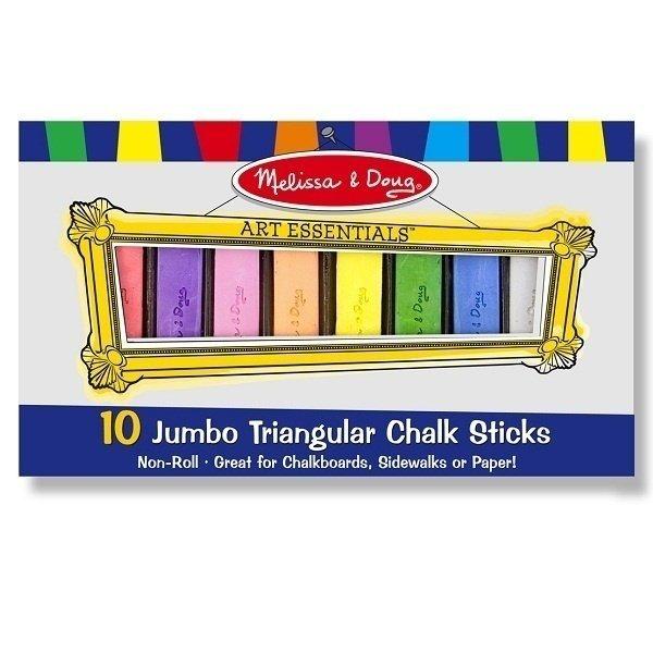 Мелки треугольные Melissa&amp;Doug 10 штВ набор входит 10 красочных, треугольных, не токсичных мелков для рисования на доске, на бумаге или на асфальте. С такими мелками можно воплотить все творческие идеи Вашего малыша.<br>