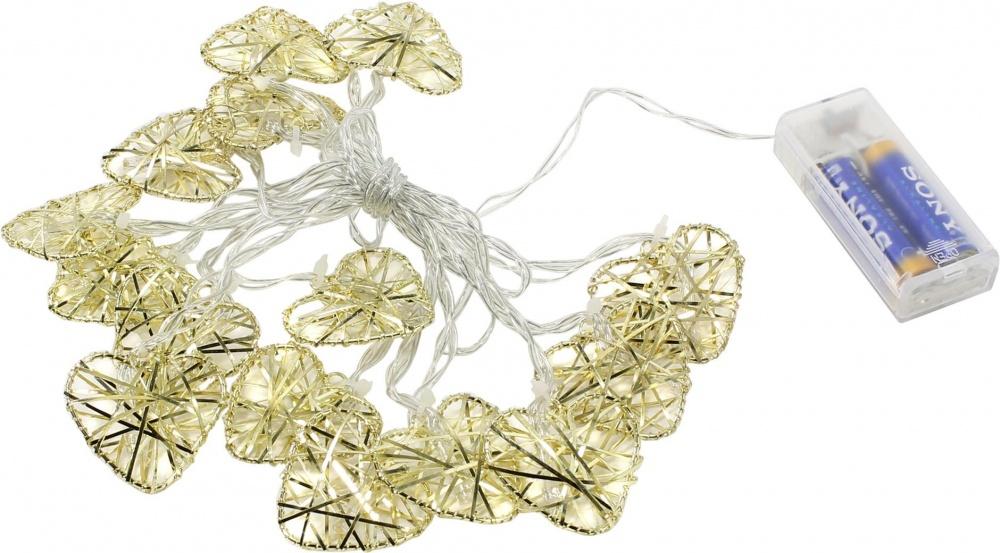 Светодиодная гирлянда с золотыми плетенными шарами (диаметр шара 3 см), 10 светодиодов, теплый белыйСветодиодная гирлянда станет отличным дополнением к украшению и декорированию праздничной комнаты. Представленная модель отличается оригинальным дизайном, благодаря чему вы сможете оформить праздник необычно и красочно. Гирлянда пригодна как для декорирования помещений на новогодние праздники, так и на любые другие торжества. Вместе с ребенком вы сможете выбрать и разместить гирлянду желаемым способом, предоставив ему возможность поучаствовать в процессе оформления помещения.МатериалыЭлементы гирлянды изготавливаются из прочного пластика, устойчивого к случайным повреждениям и износу. Это способствует долгому сроку службы. Питание осуществляется от стандартных батареек, благодаря чему напряжение будет невысоким и не опасным для жизни.Заказать и оплатитьЧтобы приобрести гирлянду, вы можете зайти в наши магазины в Москве или Санкт-Петербурге и приобрести их на месте. Также возможен заказ из любых регионов России. У нас действует быстрая и оперативная доставка. Оплатить можно наличными, картой или наложенным платежом.<br>