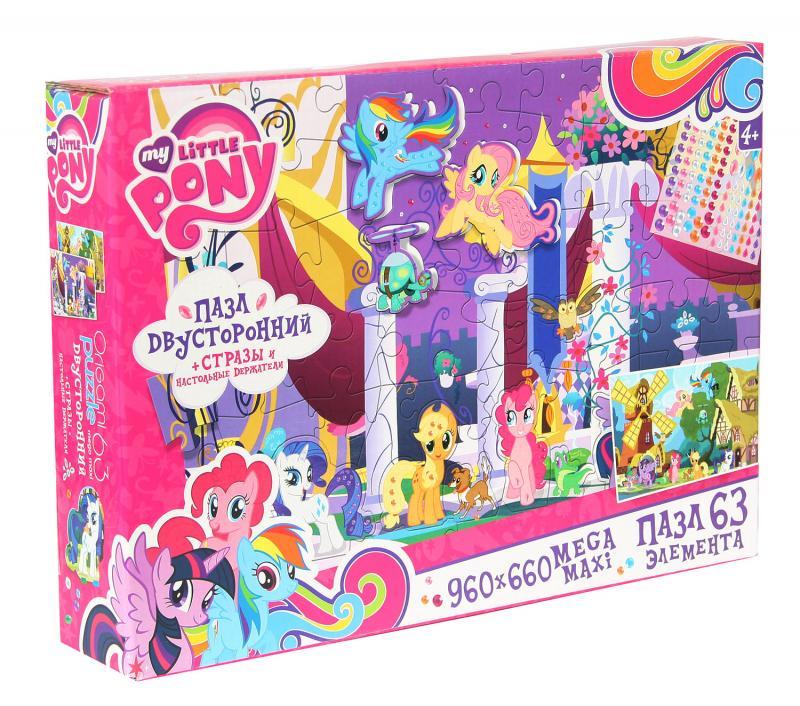 Двусторонний пазл Май Литл Пони, 63 элементаПазл Май Литл Пони очень понравится маленьким почитательницам одноименного мультсериала. К тому же он отличается широким форматом, что предполагает его сборку на большой поверхности, например, на полу. Картинка нанесена с двух сторон, поэтому есть возможность собрать два разных рисунка. Изображения маленьких лошадок из My Little Pony можно украсить стразами, которые входят в комплект.<br>
