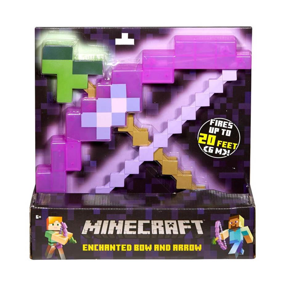 Minecraft Enchanted Bow and ArrowВы сможете ощутить себя персонажем Minecraft с полноразмерной версией могущественного лука со стрелой! Лук со стрелой, выполненный в традиционном пиксельном стиле Minecraft, с металлическим блеском, точная копия игровой версии. Включает в себя пиксельную тетиву, на которую можно положить стрелу и выстрелить! Все оценят мощь, которая играет в каждой грани полупрозрачного пластика: на лук со стрелой наложены особые чары. Этот лук жизненно необходим любому фанату Minecraft!<br>