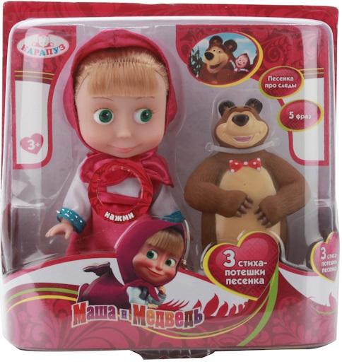 Кукла-карапуз Маша из м/ф Маша и Медведь, 15 см.Кукла Маша олицетворяет собой главную героиню популярного мультика Маша и Медведь . Она выглядит в точности как персонаж из мультфильма. У куклы реалистичные пластиковые глаза и густые ресницы, которые делаю взгляд особенно выразительным. Маша одета в розовое платьице и платочек. Ручки и ножки куколки подвижны, а волосы можно расчесывать. Нажмите на кнопку на груди куклы, чтобы услышать, как Маша разговаривает, рассказывает русские народные потешки и поет песенку из мультфильма. В комплекте есть фигурка лучшего друга Маши Мишки.<br>