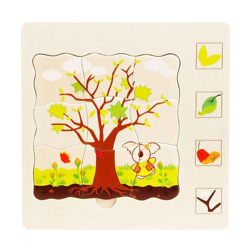 Купить Деревянный развивающий пятислойный пазл «Времена года» 5 в 1