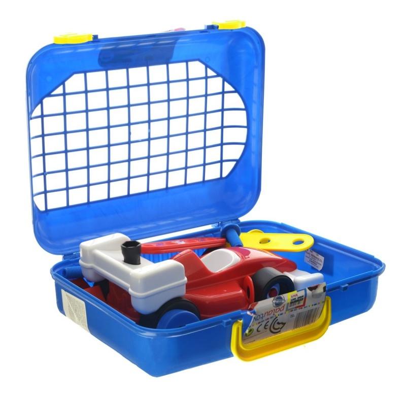 Игровой набор инструментов в чемодане, 27 предметовИгровой набор Palau Toys Super Work обязательно привлечет внимание вашего малыша. Набор выполнен из яркого пластика и включает в себя планки с отверстиями (2 коротких, 2 длинных), 2 угловых элемента, 4 гайки, 4 болта, отвертку и гаечный ключ, а также 10 элементов, из которых ребенок вручную сможет собрать автомобиль. Колесики машинки вращаются. Все элементы набора имеют увеличенные размеры. Малыш сможет легко собирать и разбирать свои поделки, соединяя шурупы с планками. Набор можно брать с собой на прогулку, ведь все инструменты аккуратно размещены в небольшом, но вместительном чемоданчике с удобной ручкой для переноски. С таким набором ваш ребенок весело проведет время, играя на детской площадке или в песочнице. Процесс сборки игрушки-конструктора поможет малышу развить мелкую моторику пальчиков, внимательность и усидчивость. Порадуйте своего малыша таким чудесным подарком!<br>