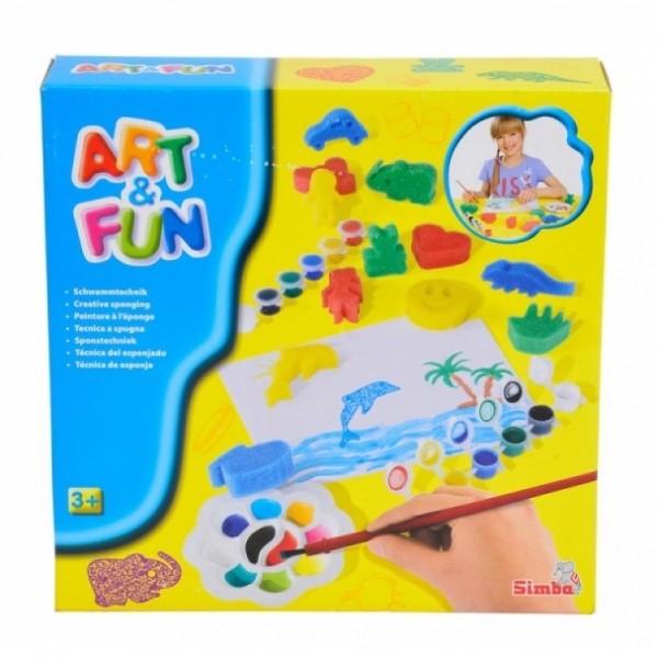 Набор для рисования Simba (краски 6 цв,12 губок,кисточка,палитра,бумага) simba 6 12