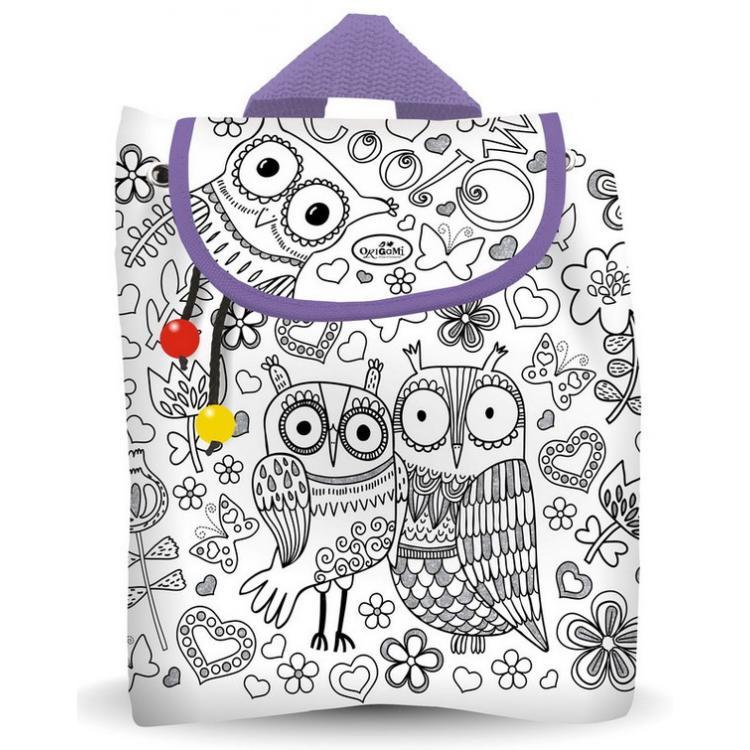 """Купить со скидкой Чудо-Тв. Сумка - рюкзак """"Совы"""" для раскраш-ния, 31х30х12см, с внутр.карм., с маркерами, ар"""