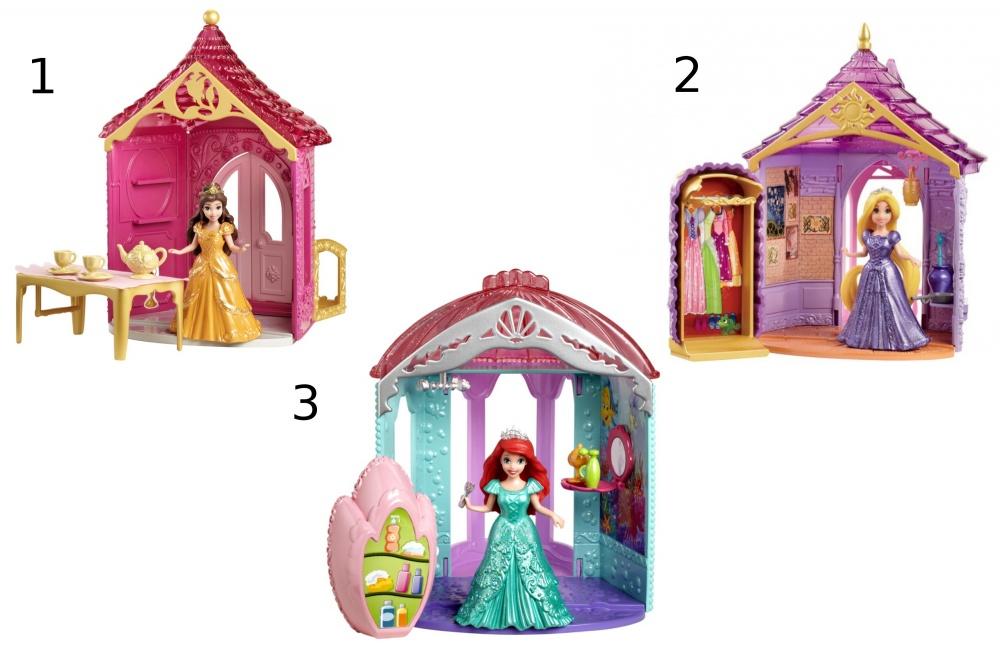 Игровой набор Комната Принцессы Дисней с аксессуарамиИгровой набор «Домик принцессы Disney» - это настоящая комнатка из сказки! Яркий домик с большим окном и разнообразными украшениям включает в себя множество интересных предметов очень детальной проработки и графики. В домике Белль находится стол с посудой для чаепития, который может превращаться в шкаф с платьями принцессы; в домике Рапунцель есть кроватка, которая тоже становится замечательной гардеробной; Замок Ариэль украшен перламутровой крышей-раковиной, а в комнатке есть зеркальце с аксессуарами и милая розовая ванночка, которая может превращаться в шкафчик. Вы можете переодеть принцессу, бальное платье легко снять благодаря технологии Magic Clip.Внимание! Товар представлен в ассортименте! Уточняйте выбранный набор в комментарии к заказу.<br>