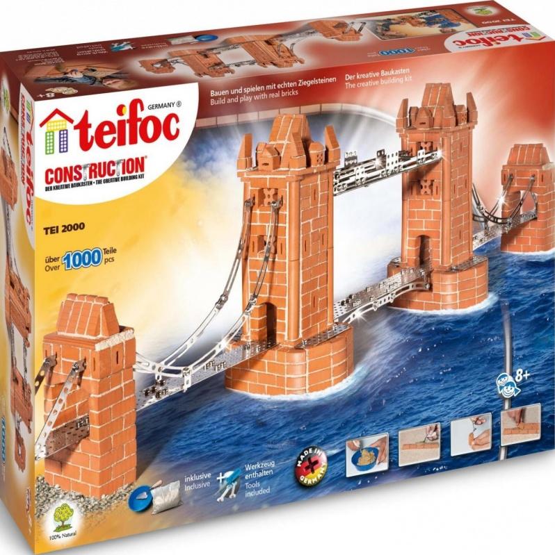 Конструктор из глиняных кирпичиков Tower BridgeВ комплекте строительного конструктора TEIFOC Мост более 1000 глиняных кирпичиковДлина набора Мост TEIFOC в собранном виде - около 115 см<br>