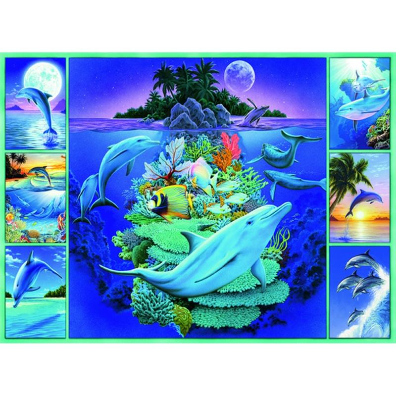Пазл Дельфины, 300 элементовДельфины от компании Ravensburger - это потрясающей красоты пазл, состоящий из 300 элементов. Собрать такую картинку - довольно долгая и кропотливая работа, однако результат в полной мере себя оправдывает, кроме того, сборка пазла помогает справиться с нервным стрессом и успокоиться. На пазле изображены симпатичные дельфины на фоне необычайно красивого пейзажа.<br>