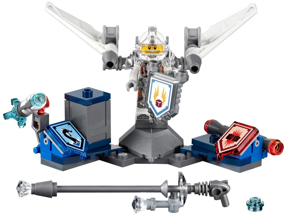Конструктор Lego Nexo Knights Ланс — Абсолютная силаЗнаменитый, очаровательный, бравый, а теперь и очень быстрый. Тот, кто вступает в схватку с этим блестящим рыцарем, нарывается на крупные неприятности, когда тот взлетает вверх с помощью реактивных ускорителей, установленных на его крыльях. Преодолей звуковой барьер вместе с NEXO-силой «Взлёт» или уничтожь врага NEXO-силой «Морской дракон». Улучши свои боевые навыки, отсканировав щиты для получения 3 NEXO-сил, которые пополнят твою цифровую коллекцию уникальных способностей и позволят перехитрить злобных лавовых монстров LEGO NEXO KNIGHTS™ Приложение MERLOK 2.0 Сканируй для получения 3 NEXO-сил: Взлёт, Электрическая Атака и Морской дракон.<br>