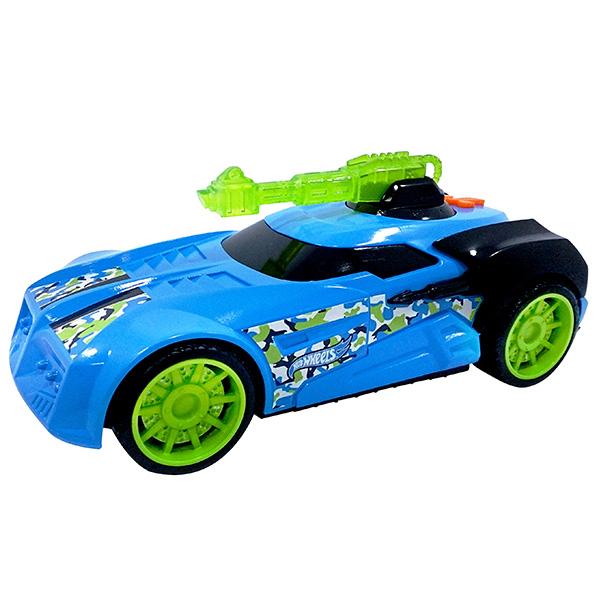 Машинка Hot Wheels на бат свет+звук голубая 27 смМашинка Hot Wheels - замечательный подарок для мальчика к любому празднику! У машины массивные мощные колеса и яркий, агрессивный дизайн с использованием синего и ярко-зеленого цветов. Игрушка оснащена звуковыми и световыми эффектами, благодаря чему игра с ней становится еще более интересной и увлекательной! Длина игрушки составляет 27 см.Машинки Hot Wheels от компании Toy State выполнены из высококачественных ударопрочных материалов, такая игрушка станет надежной и долговечной.<br>