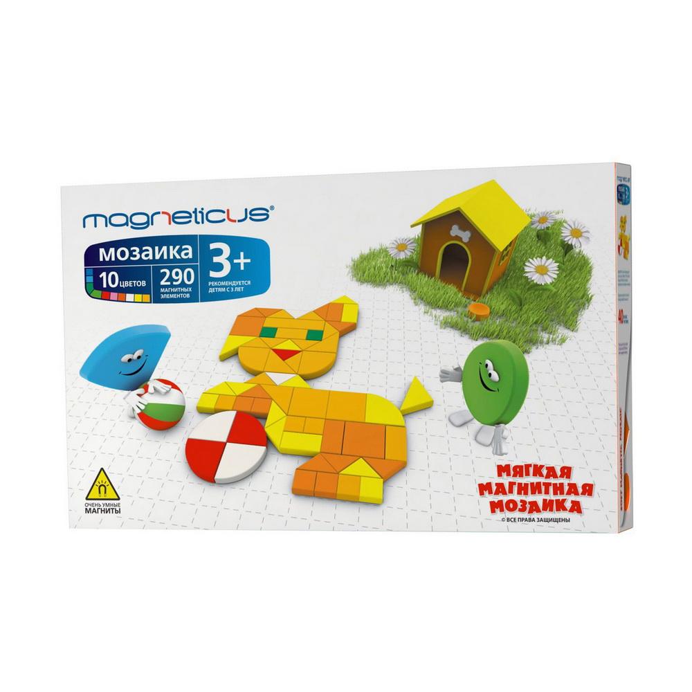 Мозаика 3+, 290 элементов / 10 цветов / 40 этюдовМозаика Magneticus 40 этюдов специально разработана для детей с 6-летнего возраста.Мозаичные элементы выполнены из безопасного, эластичного, приятного на ощупь полимерного материала на магнитной основе. В набор входят 290 больших и маленьких простейших геометрических фигур разных цветов, которые позволят создавать чудесные образы. Также в наборе игровое поле в рамке и буклет с 40 примерами мозаичных картинок.Мозаика легко крепится к холодильнику. Работа с мозаикой развивает мелкую моторику - согласованные движения пальцев рук ребенка. А ведь именно от степени сформированности движений кисти и пальцев рук зависит уровень развития речи. Мозаика помогает выработать чувство координации и укрепляет зрительную память ребенка.<br>