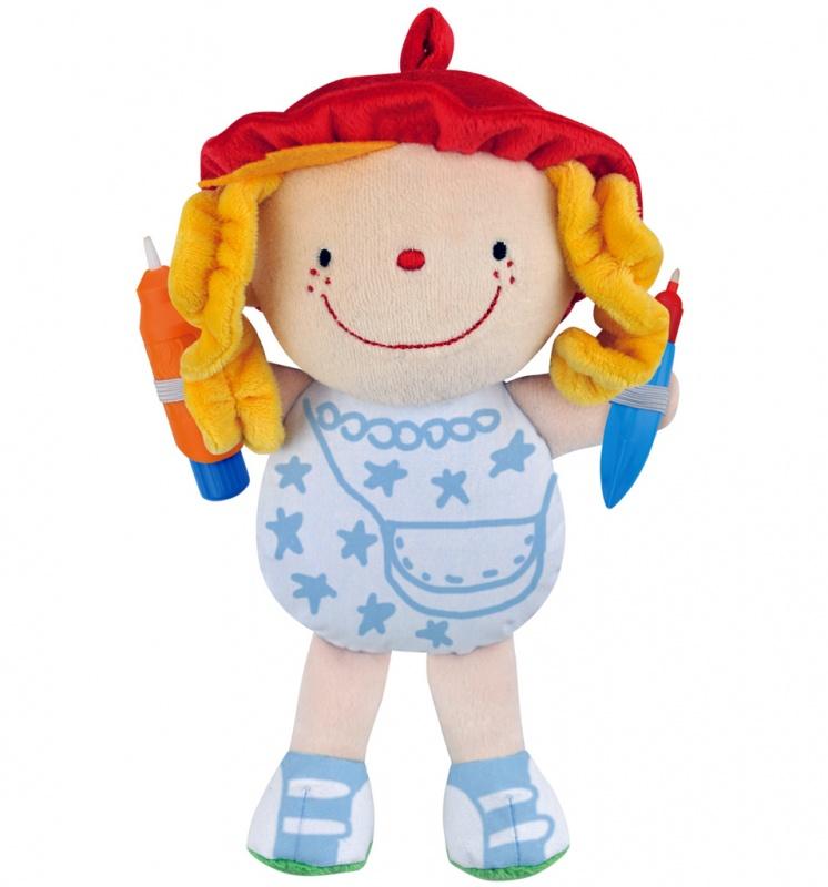 Кукла Water Doodle Fun Что носить - Джулия, 24 см.У Джулии всегда самые оригинальные наряды, ведь больше ни у кого таких нет. Ее наряды являются плодом детской фантазии и создаются с помощью фломастеров, которые заполняются водой и имеют синий цвет. Тело куклы - это белый холст, на котором ребенок сможет рисовать снова и снова, ведь чернила со временем светлеют и исчезают. Ребенок сможет рисовать не только одежду на теле, но и обувь на ступнях мягкой куклы.от 3 летДля девочекЦвет: бежевый, белый, красный, желтый.Комплектация: кукла, 2 фломастера.Материалы: текстиль, пластик.Размер упаковки: 20 х 7 х 26 см.Размер игрушки: 15 x 23.5 x 4 см.<br>