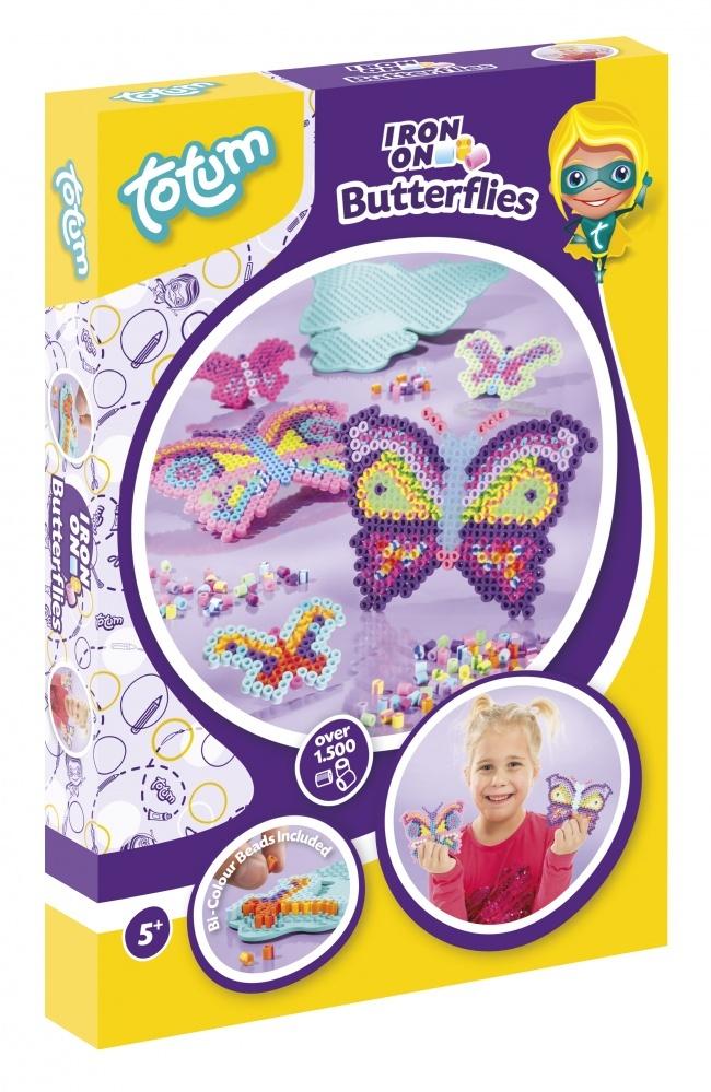 Набор для творчества IRON ON BUTTERFLIESНабор для творчества  IRON ON BUTTERFLIES. Создай бабочекрадужной расцветки из термомозайки. В набор входит: 1500 различные  различных бусин, в том числе двухцветные, калька для проглаживания, наборная пластина в форме бабочек двух размеров, инструкция.<br>