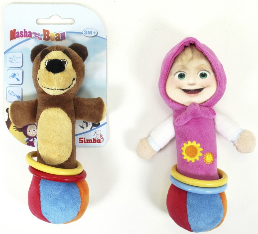 Погремушка-пищалка Simba плюшевая с кольцами Маша и Медведь  simba плюшевая книжечка маша и медведь