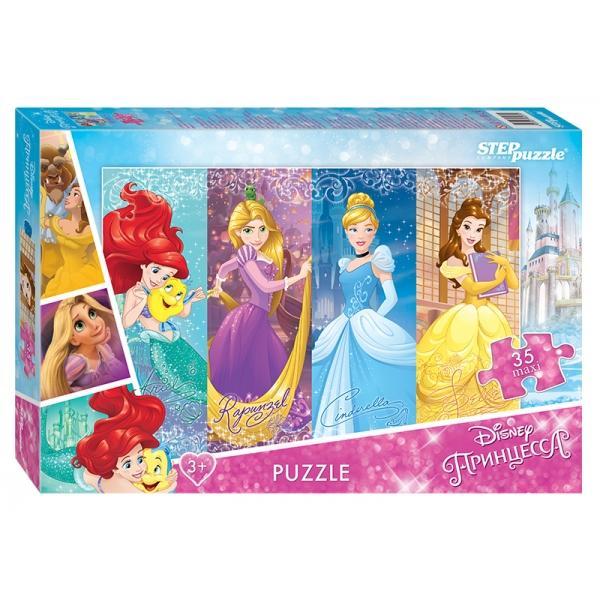 Мозаика puzzle 35 MAXI Принцессы (Disney)Макси-пазл Принцесса линейки Disney от производителя Step Puzzle создан по мотивам знаменитых детских мультфильмов. Картинка со сказочными принцессами собирается из 35 элементов, которые сделаны из качественного картона. Пазл Princess наверняка придется по душе маленьким любительницам волшебной мультипликации студии Дисней.<br>