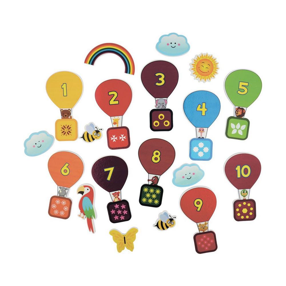 Стикеры для ванны Учимся считатьИгровой набор Учимся считать из 19 стикеров превратит купание в веселую игру. В набор входит 10 ярких красочных воздушных шаров с цифрами и забавными животными на борту, а также множество дополнительных элементов: солнышко, бабочка, пчелки, радуга, облака и так далее. Ребенок в игровой форме учит счет, создавая веселые пейзажи на тему полета на воздушном шаре. Удобно хранить в прозрачной сеточке на присосках. Развивает коммуникативные навыки, мышление и воображение. Все детали отлично держатся на воде, а при намокании приклеиваются к кафелю, поверхности ванны или друг к другу, позволяя комбинировать детали и создавать множество картин.Удобно хранить в прозрачной сеточке на присосках. Отлично подойдет для подарка.<br>