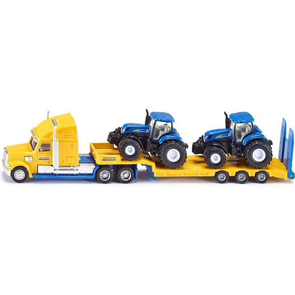 Тягач с тракорами (1:87)Мощный американский грузовик – тягач доставит два всемирно известных трактора New Holland в любой уголок страны. Кабина тягача снимается, вся техника оснащена резиновыми шинами.Тягач с тракторами (1:87) SIKU изготовлен из металла с незначительными пластиковыми элементами.Размеры: 22,3 х 2,7 х 4,7 см<br>