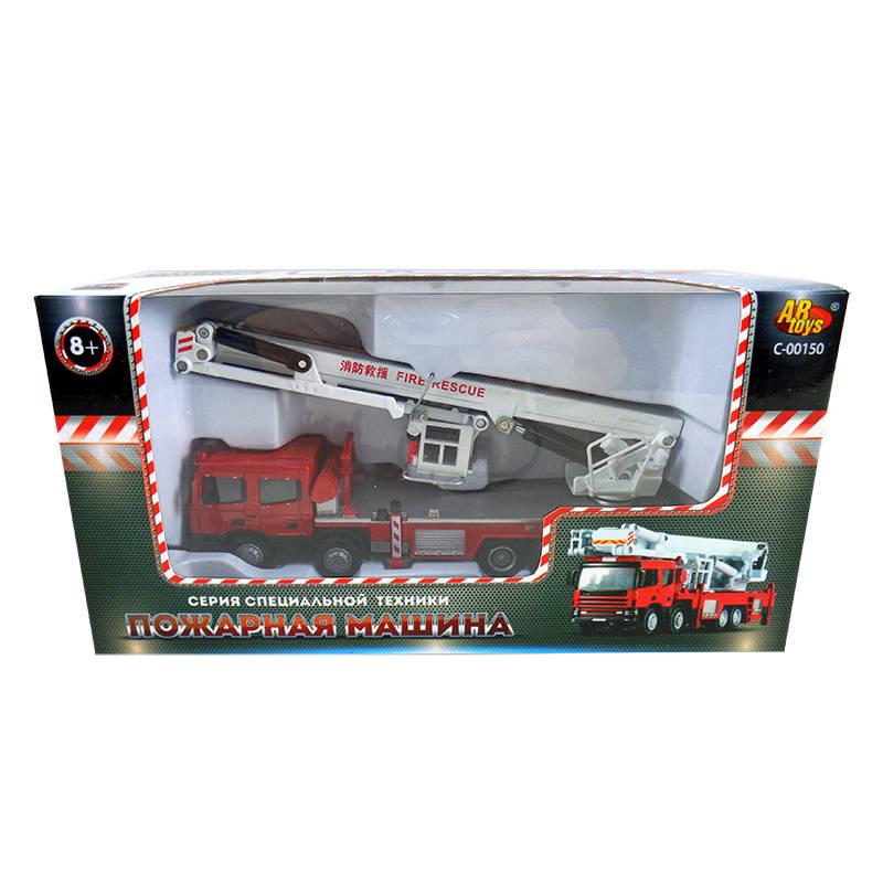 Спецтехника. Пожарная машина 1:50 металлическая, механическая с подвижной кабиной и кузовом, в коробИгрушечная пожарная машинка оснащена подвижными деталями, с которыми ребенку будет интересно играть: во время тушения воображаемого пожара можно менять положение водительской кабины и кузова. Механическая игрушка изготовлена из металла, что обеспечивает долги срок службы. Элементы дизайна, такие как фары, окна, салон, выполнены из пластмассы. С данной машинкой ребенок сможет примерить роль бравого пожарного и спасти любимые игрушки от ненастоящего огня.<br>