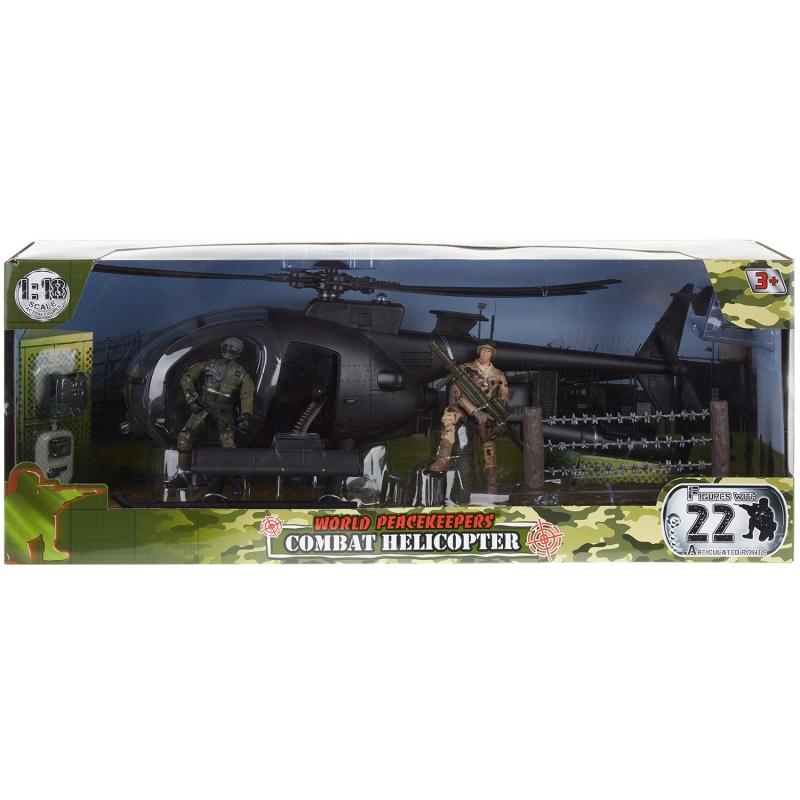 Набор - Вертолет и 2 фигуры солдат 9,5 см.Набор для мальчика – это большой вертолет, два солдатика и дополнительные аксессуары (рация, пистолет, ограждение с имитацией колючей проволоки). Боевой вертолет выполнен в классическом черном цвете, благодаря чему игрушка смотрится эффектно. Главное ее достоинство – подвижные лопасти. Нажав на едва заметную кнопку, можно запустить их движение. Прозрачное стекло кабины придает изделию реалистичность. Голова и конечности у солдат подвижны, благодаря этому фигуркам можно придать самые разнообразные позы, усадить в кабину вертолета. Все это делает игрушку набор вертолет и 2 фигуры солдат увлекательной и захватывающей.<br>