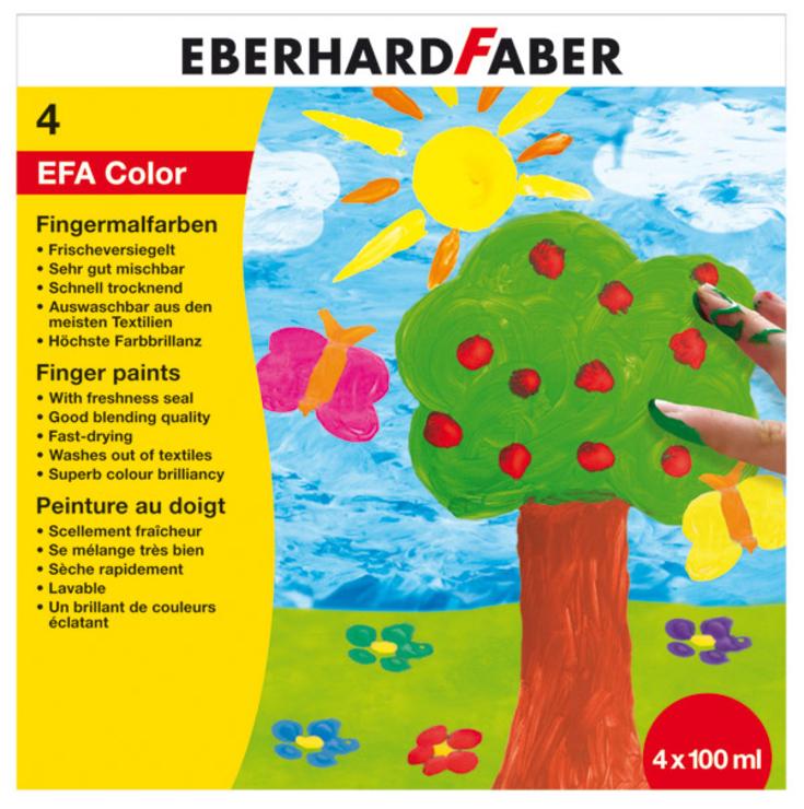 Пальчиковые краски, набор цветов, 4 пласт. баночки по 100 мл., в карт. коробкеПальчиковые краски Eberhard Faber станут отличным подарком вашему маленькому ребенку. Благодаря этой оригинальной игрушке ваш малыш сможет развивать мелкую моторику, учиться устанавливать причинно-следственные связи, а также улучшать множество других полезных навыков. Краски предназначены для самых маленьких детей, которые еще не умеют держать кисть. В комплекте находятся баночки с красками четырех разных цветов, что поможет сделать процесс рисования увлекательным и интересным.Безопасные материалыКраски изготавливаются на водной основе с применением экологически чистых материалов. Благодаря этому они абсолютно безопасны для здоровья ребенка. Структура материала не вызывает аллергических реакций и не оказывает негативного воздействия на организм. Особый состав позволит легко отмыть краску абсолютно с любой поверхности.Как купить и оплатить?Вы сможете найти пальчиковые краски Eberhard Faber в одном из наших розничных магазинов, расположенных в Москве или Санкт-Петербурге. Совершая покупки таким образом, вы можете оплатить их наличными или банковской картой. Если вы заказываете доставку в любой регион страны, оплата возможна при помощи наложенного платежа.<br>