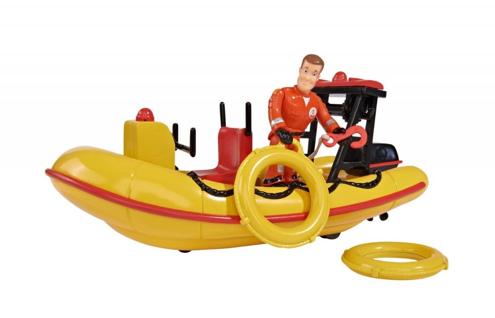 Набор Пожарный Сэм - Лодка спасателей с аксессуарами (звук)Данный игровой набор порадует ребенка крупной спасательной лодкой с механической лебедкой и фигуркой Сэма из мультсериала Пожарный Сэм. В комплекте также имеются дополнительные аксессуары, без которых не обойдется ни один спасатель: 2 круга, аптечка, огнетушитель. Если нажать на небольшую кнопку, то можно услышать звук работающего мотора. С этим игровым набором ребенок сможет без проблем разыграть сцены спасения тонущих игрушек.Возраст: от 3 летДля мальчиковЦвет: желтый, красный, черный.Комплектация: лодка, фигурка, аксессуары.Наличие батареек:  входят в комплект.Тип батареек: 2 x AAA / LR0.3 1.5 (мизинчиковые).Материалы: пластик.Размер упаковки: 25 х 15 х 15 см.Размер спасательной лодки: 20.3 x 11.4 x 9.5 см.<br>