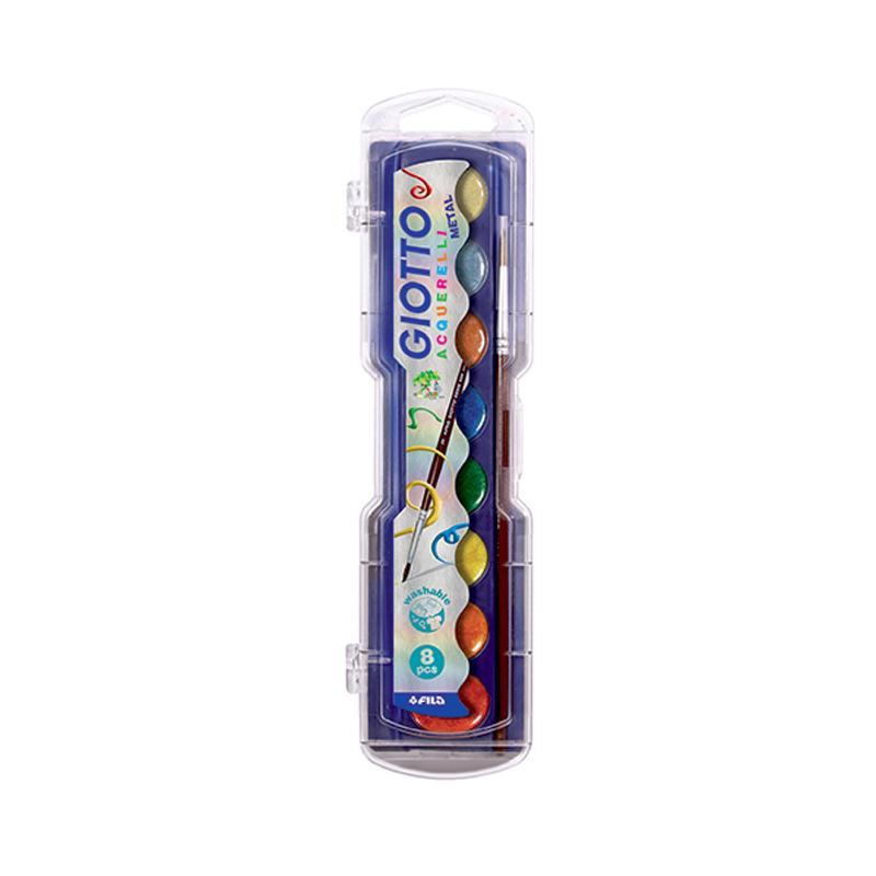 GIOTTO Акварель полусухая, металик, 8 цветовАкварельные краски высокого качества в пластиковой коробке. Восемь цветов с эффектом металлик. Высокая концентрация цветового пигмента; таких красок хватит надолго.Можно разбавлять небольшим количеством воды, а для высокой прозрачности и создания световых эффектов рекомендуется большее количество воды.Краска легко отстирывается практически от любых видов тканей.В набор входит кисть.<br>
