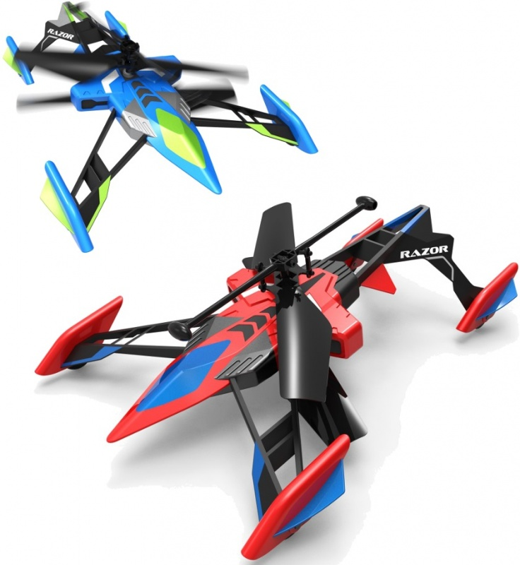 Air Hogs Razor Вертолет-лезвие на ИК-управлении, летает и ездитВертолет-лезвие Air Hogs Razor на ИК-управлении от компании Spin Master может не только летать, но и ездить по поверхностям за счет вращения винтов! Игрушка имеет необычную форму и выглядит словно футуристический космический корабль. Сама конструкция вертолетика имеет небольшой вес, благодаря чему он обладает прекрасной маневренностью и с легкостью может выполнять фигуры высшего пилотажа!Доказав всем наблюдающим за полетом свое превосходство в воздухе, вертолет-лезвие Эйр Хокс может совершить эффектную посадку и без проблем продолжить свой путь уже по земле! Стремительно крутящиеся винты и 4 небольших колесика, расположенные по классической автомобильной схеме (два - спереди и два - сзади), обеспечат уверенное и быстрое движение вертолетика по любой ровной поверхности.В комплекте поставки есть все необходимое для игры: вертолет на ИК-управлении со встроенным аккумулятором, пульт управления, а также подробная инструкция по подготовке к игре. Необходимо только дополнительно приобрести батарейки для питания пульта управления игрушкой, от которого также осуществляется зарядка аккумулятора вертолета.<br>