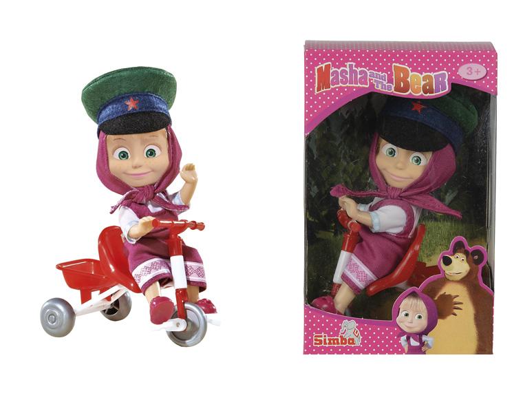 Кукла Маша и Медведь - Маша в фуражке с велосипедомКукла Маша и Медведь от известного немецкого производителя детских игрушек Симба представляет собой фигурку Маши - персонажа популярного отечественного мультфильма, которую можно посадить на велосипед. Она одета в привычное розовое платье и платочек, а на голове у нее армейская фуражка с красной звездой. Маша имеет живую позу и небольшой размер: 12 см в высоту, поэтому может послужить коллекционной фигуркой. Ее также удобно брать с собой для игры в детском саду или в путешествии. Колесики велосипеда крутятся, благодаря чему игра будет намного интереснее.<br>