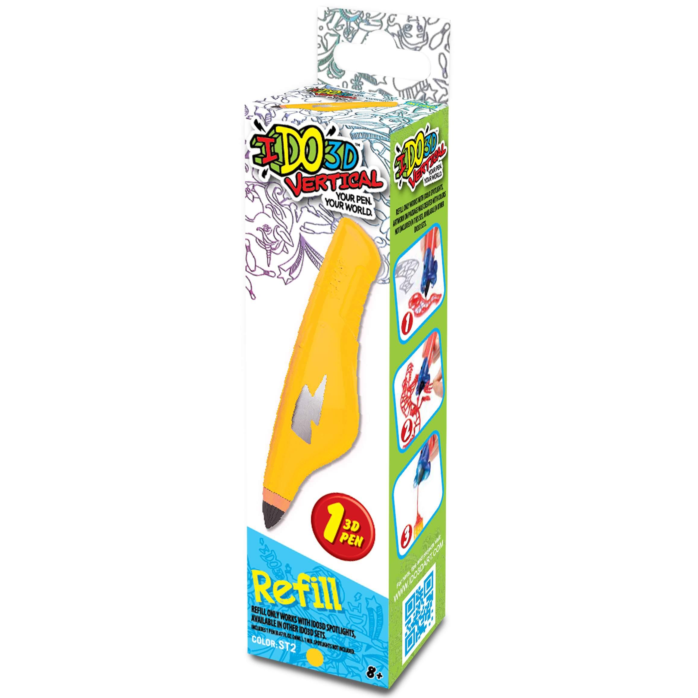 Картридж для 3D ручки Вертикаль, цвет желтыйКартридж для 3D-ручки Вертикаль наполнен жидким полимерным веществом желтого цвета. При использовании картриджа необходимо также помнить о том, что 3D-чернила затвердевают, когда на них светит ультрафиолет. У ручек Вертикаль в комплекте имеется соответствующий фонарик. Создатель объемных изображений должен учитывать тот факт, что толщина готовых линий напрямую зависит от силы сдавливания картриджа. 3D-ручка и световая насадка не входят в комплект, они приобретаются отдельно.<br>