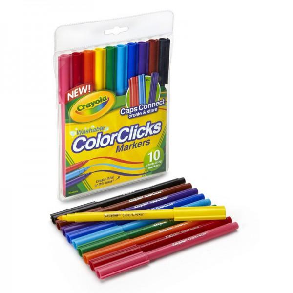 Фломастеры Crayola 10 шт соединяющихсяНабор фломастеров разных цветов Crayola будет замечательным подарком для малышей и позволит создавать свои первые яркие рисунки.Колпачки пишущих предметов соединяются друг с другом и образуют прочный крепеж. Благодаря этому фломастеры сложно потерять.Фломастеры удобно держать в руке и рисовать ими.Фломастеры обладают отличной цветопередачей, при правильном использовании они прослужат очень долго. Выполнены из качественных материалов, безопасных для ребенка.<br>
