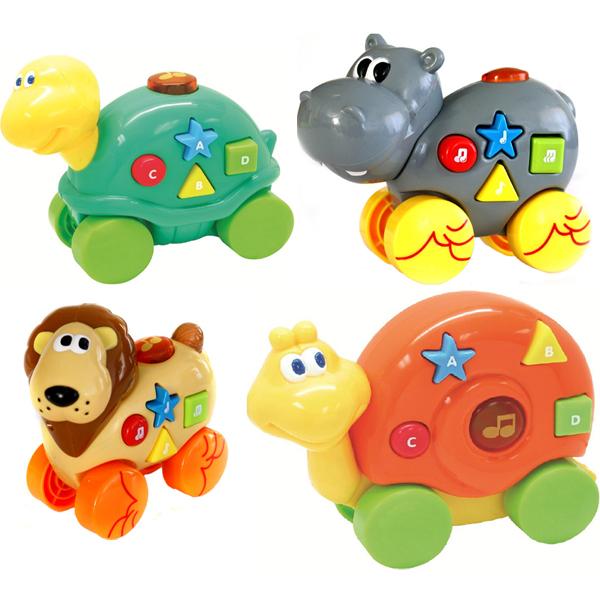 Музыкальные Звери 40 мелодийДружелюбные животные Navystar, выполненные в реалистичной манере, помогут запомнить цвета и формы во время веселой игры. Нажатие всех 5 кнопок на игрушке сопровождается звучанием 40 мелодий и световыми эффектами. Музыкальную игрушку от Navystar можно катать по твердой поверхности. Товар продается в ассортименте, нужную модель уточняйте при звонке от оператора.<br>