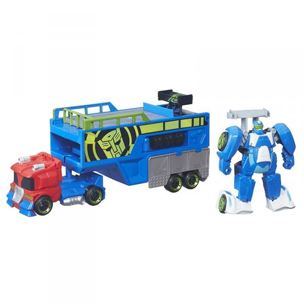 Трансформер Playskool спасатели Гоночный комплектТрансформеры из мультсериала Трансформеры: Роботы-Спасатели.В комплекте грузовик-перевозчик, машинка с реверсивным механизмом и трамплин!<br>