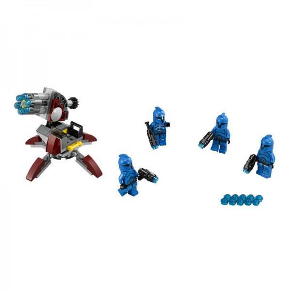 Конструктор Lego Star Wars Элитное подразделение Коммандос СенатаКонструктор Элитное подразделение Коммандос Сената непременно оценят поклонники LEGO и Star Wars.Коммандос — это элитное подразделение Стражи Сената, которое располагается на планете Корусант. Характерной особенностью бойцов подразделения является уникальная синяя броня. Коммандос обладают навыками ведения боя. Пройдя специальный курс, бойцы могут не только профессионально управляться с оружием, но и достойно противостоять врагам в рукопашной схватке.В наборе есть элементы, при помощи которых можно собрать шестизарядную пушку с четырьмя адаптивными опорами и помостом для стрелкаВ наборе: 4 фигурки с оружием: 3 бойца Коммандос и их капитан и 106 деталей конструктора.<br>
