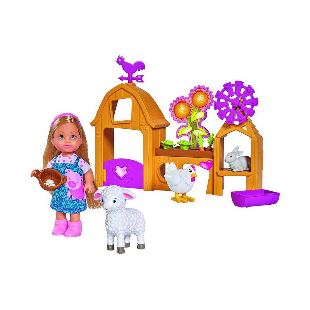Кукла Еви, набор Счастливая ферма, 12см.Набор Кукла Еви: Счастливая ферма от немецкого бренда Simba станет хорошим подарком для девочки старше 3 лет и позволит ей испытать много положительных эмоций во время игры. В набор Evi Happy Farm входит прелестная куколка Еви высотой 12 см, одетая в очаровательный голубой сарафан, декорированный аппликацией свинки. У голубоглазой Еви длинные светлые волосы, которые можно расчесывать и укладывать в прически, а ножки, ручки и голова куколки двигаются, позволяя ей принимать динамичные позы.Помимо игры с самой куколкой, девочку увлечет и игра в ферму с любимыми животными красавицы Еви. На ферме у куколки живут очаровательный барашек, кролик и курочка. Дополнительные аксессуары в виде ворот с флюгером, ветряной мельницы, мини-огорода с морковкой, кормушки и корзинки с яйцами делают игру в ферму очень живой и интересной для маленького ребенка. В небольшом огороде Еви может вырастить морковку и покормить ею кролика, а курочка умеет нести яйца, которые Еви бережно собирает в маленькую корзинку. Игра поможет девочке весело провести время, одновременно тренируя мелкую моторику рук, координацию движений и развивая фантазию ребенка.Все игрушки выполнены из качественного пластика и безопасны для здоровья ребенка.<br>