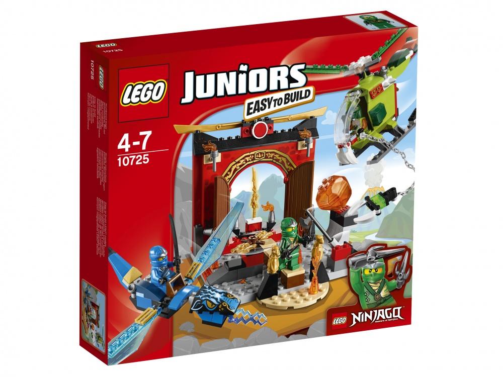 Конструктор Lego Juniors Затерянный храмЗатерявшийся в лесу старинный храм много веков простоял в окружении тишины, пока его случайно не обнаружили смелые исследователи. Отличный повод для сказочной экспедиции — посчитали специалисты Лего и разработали для самых юных героев новый игровой набор. Сражения, долгая дорога в лесу, борьба с хищниками — всех приключений не перечислить! Предложите ребенку отправиться на поиски старого здания и спрятанных сокровищ, пока их не нашли другие путешественники.Чтобы приступить к игре, придется немного потрудиться. Найти место для каждой из 172 деталей малышу будет непросто, но старшие члены семьи, без сомнения, придут на помощь. Готовая конструкция вместе с набором фигурок и воздушным транспортом позволяет пригласить для игры друзей вашего ребенка и распределить роли среди всех желающих.<br>